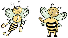 Bees. Two funny bees, boy and girl vector illustration