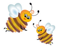 Bees. Two funny and good bees royalty free illustration