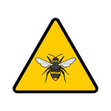 Bees warning sign. Caution bee hive sign; Bee illustration; Warning allergy to bees Royalty Free Stock Photos