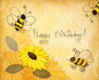Bees wishing happy birthday royalty free illustration