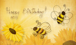 Bees wishing happy birthday Royalty Free Stock Photo