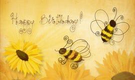 Bees wishing happy birthday Royalty Free Stock Photo
