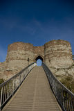 Beeston Castle. Pathway over the moat up to Beeston Castle in the Cheshire vilage of Beeston England Stock Images