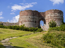 Beeston Castle in Cheshire, England. Entrance to the historic ruins of Beeston Castle near Tarporley in Cheshire, England royalty free stock photos