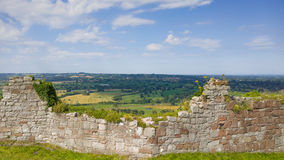 Beeston Castle and Cheshire Plain, England. Scenic view across the ruins of Beeston Castle to the Cheshire plain. Tarporley, England stock photos