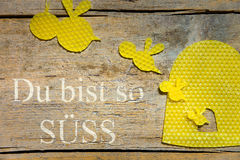 Beeswax, bees and a beehive on wooden table, german text, concep Royalty Free Stock Photos