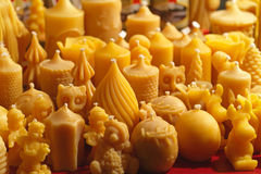 Beeswax candles. Yellow scented candles made from natural beeswax stock image