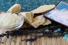 Ingredients for homemade body care products. Beeswax, cocoa butter, sea salt, and lavender Stock Image