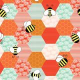 Beeswax with little bees flying around stock illustration
