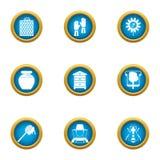Beeswax miodowe ikony ustawiać, mieszkanie styl ilustracja wektor