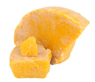 Beeswax. On white background. Yelow stock photos