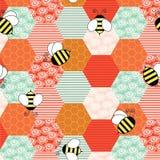 Beeswax z małymi pszczołami lata wokoło ilustracji