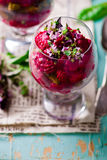 Beet appetizer  from  in the verrines Royalty Free Stock Images