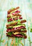 Beet,avocado and arugula sandwich Royalty Free Stock Image