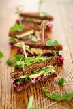 Beet,avocado and arugula sandwich Stock Photography
