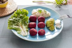 Beet burgers and feta cheese royalty free stock photos