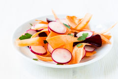 Beet carrot radish salad on white plate Stock Image