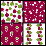 Beet or Chard Seamless Patterns Set Royalty Free Stock Images
