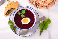 Beet green soup with egg Stock Photo