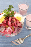 Beet and herring salad Royalty Free Stock Images