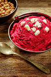 Beet hummus and goat cheese Royalty Free Stock Photo