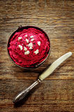 Beet hummus and goat cheese Royalty Free Stock Photos