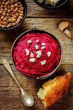 Beet hummus and goat cheese Stock Images