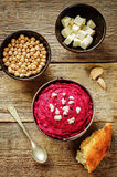 Beet hummus and goat cheese Royalty Free Stock Image
