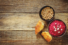 Beet hummus and goat cheese Royalty Free Stock Photography