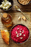 Beet hummus and goat cheese Royalty Free Stock Images