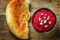 Beet hummus and goat cheese Stock Photo