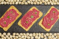 Beet hummus Stock Image