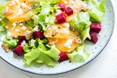 Beet and oranges salad Stock Photo