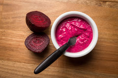 Beet paste in a wooden tray Stock Photo