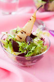 Beet-pear salad in a glass bowl Stock Image