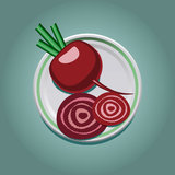 Beet on a plate with slices Stock Photo
