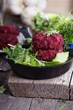 Beet root and red bean vegan burgers Royalty Free Stock Photo