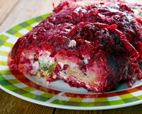 Beet roulade. With vegetables and feta cheese Stock Photography