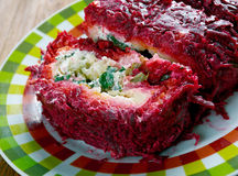 Beet roulade. With vegetables and feta cheese Royalty Free Stock Image