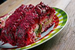 Beet roulade. With vegetables and feta cheese Royalty Free Stock Images