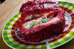 Beet roulade. With vegetables and feta cheese Stock Images