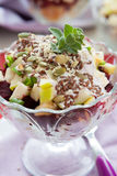 Beet salad with apples in a glass bowl Stock Photo
