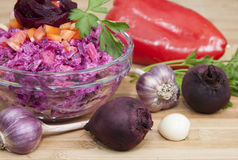 Beet salad with bell peppe. R, rice, garlic and parsley Royalty Free Stock Photography