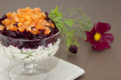 Beet salad with bell pepper,. Rice, garlic and parsley Royalty Free Stock Photo
