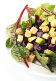 Beet salad with croutons Royalty Free Stock Image