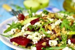 Beet salad with feta,apple,walnut and arugula. Royalty Free Stock Image