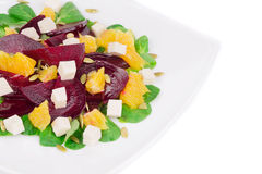 Beet salad with feta cheese and orange. Royalty Free Stock Images