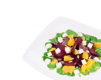 Beet salad with feta cheese and orange. Stock Photo