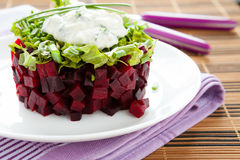 Beet salad with fresh herbs and garlic sauce Stock Image