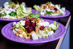 Beet salad with goat cheese, walnuts, greens and herbs and olive oil. Royalty Free Stock Photography